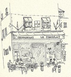 Ink drawing of Restaurant Le Consulat, France