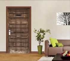 3D Wood Gate Metal Bars 19 Door Mural | AJ Wallpaper Paper Wallpaper, Custom Wallpaper, Photo Wall Stickers, Stone Street, Vinyl Doors, Wooden Pattern, Door Murals, Traditional Wallpaper, Door Wall