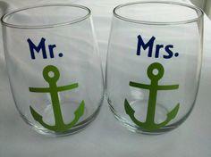 Mr. and Mrs. boat anchor stemless wine glasses via #Etsy