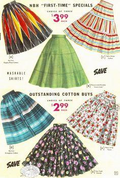 1955 1950s big print circle skirts