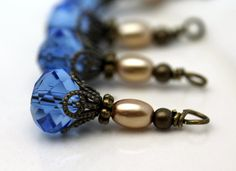 Vintage Style Blue Multifaceted Crystal Rondelle by bountyofbeads, $5.00