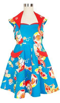 Rockabilly Baby Jetson Set | Vintage Inspired Girls Dress | Geisha Fans