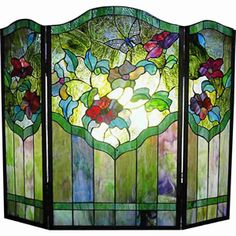 Butterfly and Flower Stained Glass Fireplace Screen Tiffany Stained Glass, Stained Glass Lamps, Stained Glass Designs, Stained Glass Panels, Stained Glass Projects, Stained Glass Patterns, Leaded Glass, Mosaic Glass, Tiffany Glass