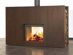 Fire place with side wood storage.