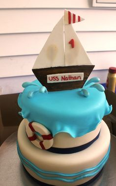 "469 repins!  Photo 6 of 12: Nautical 1st Birthday / Birthday ""Nathan's 1st Birthday"". People just seem to love this little cake:)."