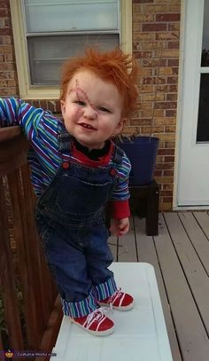 Chucky - Halloween Costume Contest via Nicole: I made this costume for my One year old toddler. I find it slightly annoying that all baby/toddler costumes are cute and UN horror related. Funny Kid Costumes, Baby Halloween Costumes For Boys, Baby First Halloween, Halloween Costume Contest, Halloween Outfits, Halloween Kids, Toddler Boy Halloween Costumes, Diy Toddler Halloween Costumes, Baby Costumes For Boys