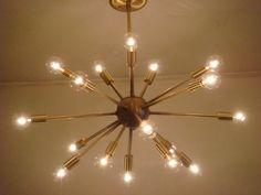 """Sputnik Starburst Light Fixture Chandelier Lamp Satin Brushed Brass 24"""" 18 Arms   eBay"""