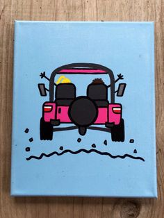 Sorority crafts Jeep - Life's Good Jeep Sorority Canvas Simple Canvas Paintings, Small Canvas Art, Easy Canvas Painting, Cute Paintings, Mini Canvas Art, Diy Painting, College Canvas Paintings, Sorority Canvas Paintings, Friendship Paintings