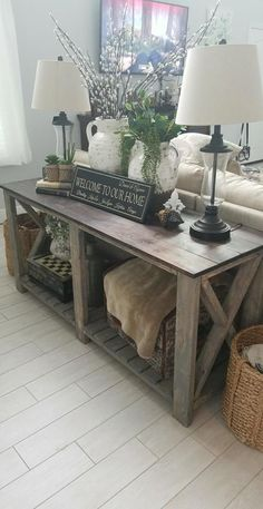 33 Home Small Foyer Ideas Home Interior Ideas Home Decorating « housemoes Sofa Table Decor, Table Decor Living Room, Couch Table, Home Living Room, Table Decorations, Sofa Tables, Rustic Entryway, Entryway Decor, Table Behind Couch