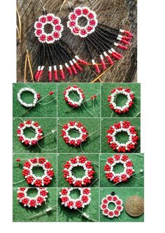 beaded earrings to make Beaded Flowers Patterns, Beaded Earrings Patterns, Seed Bead Patterns, Beading Patterns, Bracelet Patterns, Loom Beading, Bead Jewellery, Seed Bead Jewelry, Seed Beads