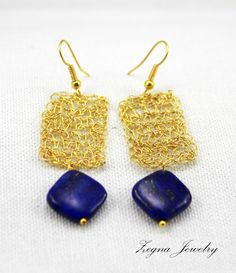 Wire Crochet Earrings with Lapis Lazuli Beads by ZegnaJewelry, $26.00