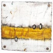 Cut 13-355, 2013 by Michelle Y. Williams - Mixed media on torched metal floated in acrylic. 15 x 15 in (38 x 38 cm) #Abstract #Contemporary #Art unique artwork