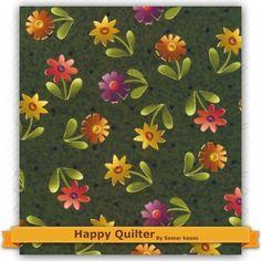 Tecido Estampado para Patchwork - Mini Flor Verde (0,50x1,40) 100% Algodão  Fabricante:  Happy Quilter