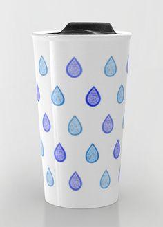 """Blue raindrops"" Travel Mug by Savousepate on Society6 #travelmug #mug #watercolor #pattern #drops #raindrops #zentangles #doodles #white #blue #turquoise #aqua"