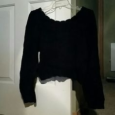 Black crop sweater Black scoop neck long sleeve cropped sweater.  100 % cotton.  Red undershirt to show pattern and not included. Pasta Sweaters Crew & Scoop Necks