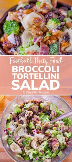 Need an easy Super Bowl Party food? This creamy broccoli tortellini salad is perfect for potlucks and parties, but also makes a complete meal for family dinner! #salad #recipe #sidedish #barbecue #sides #sidedishrecipes #vegetablerecipes #salads #pastasalads #healthypastasalad #seahawks #footballfood #footballparty #tailgating #superbowlfood #superbowlsnacks #gameday #gamedayfood #gamedaysnacks #footballpartyfood #broccoli #broccolisalad