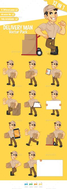 Delivery Man Pack by bamztoon Cartoon Illustration of deliveryman, 12 poses in one pack. Man Vector, Delivery Man, Mascot Design, Home Icon, People Illustration, Male Man, Xmas Cards, Cartoon Drawings, Caricature