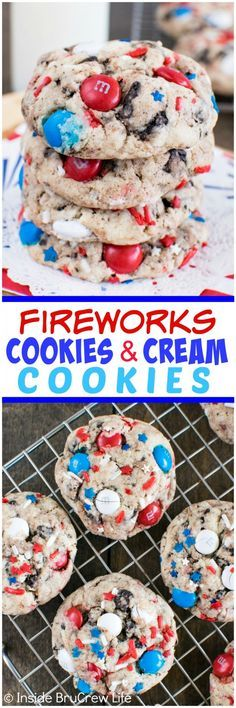 Fireworks Cookies and Cream Cookies - red, white, & blue candies and sprinkles add a fun flair to these easy cookies. This is an awesome cookie recipe! fourth of july cookie Patriotic Desserts, 4th Of July Desserts, Fourth Of July Food, Cookie Desserts, Holiday Desserts, Oreo Dessert, Holiday Baking, Holiday Treats, Just Desserts