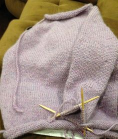 How to Knit a Sweater: Knitting a sleeve on a top-down sweater.