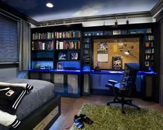 Teen Boys Room Design, Pictures, Remodel, Decor and Ideas // For boys, but I love this. NOTE: AWESOME SHELVING = AWESOME ORGANIZATION !!!