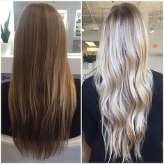 Before and after blonde. Color by @baileyage
