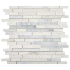 MARAZZI Urban Fusion First Snow 12 in. x 12 in. x 8 mm Marble Random Linear Mosaic Tile