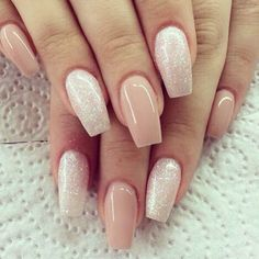 Nude nails with glitter