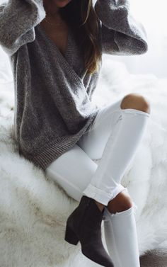 #fall #fashion / gray knit + white ripped denim