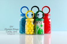 DIY: olympic rings candy jars, cute gift for Olympics obsessed friends :) Office Olympics, Kids Olympics, Winter Olympics, Olympics 2015, Special Olympics, Olympic Idea, Olympic Crafts, Winter Olympic Games, Jars