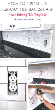 How to Install a Subway Tile Backsplash + FREE Subway Tile Template on TryEverythingBlog.com - white subway tile   delorean gray grout   white kitchen cabinets   how to grout   how to cut tile