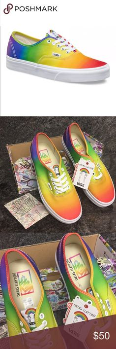 Vans Dallas Clayton Rainbow Shoes Vans Dallas Clayton Rainbow Shoes New with tags Size: 8 American illustrator and creator of the Awesome Book series, Dallas Clayton, has teamed up with Vans for a bright and colourful collaboration. The Vans Authentic (Dallas Clayton) Rainbow/True White features a rainbow ombre canvas upper with classic lace up styling, metal eyelets and a vulcanized rubber sole with waffle print tread. Comes with original box, and sticker but missing box lid Vans Shoes…