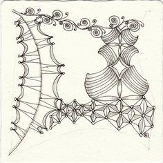 Ein Zentangle aus den Mustern Scrollwork, Sowa, Spention, Wunderwall gezeichnet von Ela Rieger, CZT
