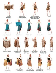Instructions how to wrap vintage silk sari multi-layer reversible wrap skirt