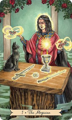 The Magician - Everyday Witch Tarot by Deborah Blake , Elisabeth Alba Tarot Card Spreads, Tarot Cards, The Magicians, The Magician Tarot, Tarot Major Arcana, Tarot Card Meanings, Witch Art, Tarot Readers, Pentacle