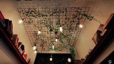 Fairy Light and Ivy Ceiling Decor Fairy Lights Ceiling, Ceiling Decor, Ceiling Ideas, Boho Bedroom Diy, Home Decor Bedroom, Fairy Bedroom, Small Room Decor, Modern Tiny House, Vintage Room
