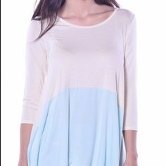 ☀️Flowing Spring Tunic Silky soft, flowing top! Light and airy for the spring and summer. Pale yellow and light blue, 96% Rayon 4% Spandex. Made in the USA Pastels Clothing Tops