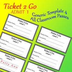Ticket 2 Go > Admit 1 are EDITABLE Generic Passes for all Occasions. Copy off as many sheets as you need, cut out individual pass, and fill it out according to each student's needs. Keep a stack in your desk!  Great for bathroom passes, hall passes, excused from class, for any and/or all purposes. Teachers use these tickets as a reward, such as a give away for good behavior.