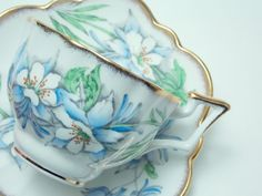 "Salisbury ""Columbine"" Large Blue Flowers Brushed Gold Trim Vintage Tea Cup and Saucer Made in England"