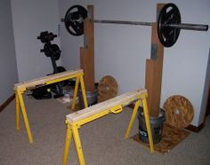 My Home Gym On A Budget Diy Bumper Barbell Diy Compact