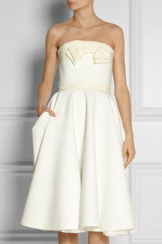 Lanvin Grosgraintrimmed Piqué Dress in White - Lyst