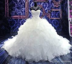 Actual Image Crystle Beaded Sweetheart Neckline Corset White Sexy Wedding Dresses Ruffle Sweep Train Sexy Long Bridal Gowns No Sleeve Cheap from Tuonan957a,$46.08 | DHgate.com