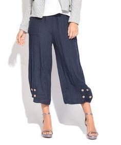 Loving this Blue Button-Hem Cropped Linen Pants - Women & Plus on #zulily! #zulilyfinds