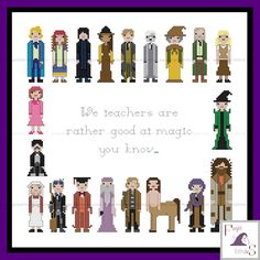 Harry Potter inspired Teachers of Hogwarts cross stitch pattern with alternative quote - PDF Pattern - INSTANT DOWNLOAD