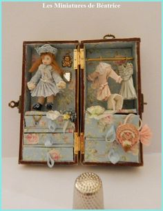 Doll trunk for dollhouse or nursery by on Etsy Tiny Dolls, Old Dolls, Antique Dolls, Decoupage Vintage, Vintage Paper Dolls, Miniature Crafts, Miniature Dolls, Doll Closet, Doll Display