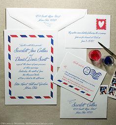 Travel-inspired Airmail Wedding Invitations