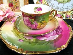 GERMANY TEA CUP AND SAUCER TRIO PAINTED ROSES PATTERN TEACUP