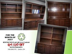 Sale on Hutches, Display cabinets,credenzas for the month of July Outlook Office Solution, LLC Canton, OH Hutch Cabinet, Used Office Furniture, Display Cabinets, Furniture Outlet, Bookcase, Shelves, Home Decor, Cabinets, Shelving