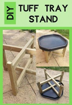 This post is all about how to make your own tuff tray stand diy style - we've seen a few tuff tray stand ideas but we wanted to make it as easy as possible to make your own at a lower cost so we made this wooden tuff tray stand with step by step instructions. Great for early years outdoor area or the tuff tray at home in the garden #tufftray #eyfs #tufftraystand #eyfsproject Outdoor Learning Spaces, Kids Outdoor Play, Outdoor Play Areas, Kids Play Area, Kids Outdoor Spaces, Preschool Garden, Sensory Garden, Preschool Ideas, Preschool Crafts