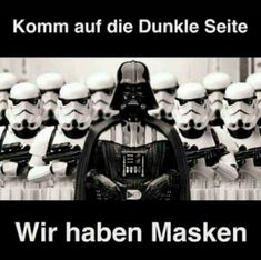 Come to the Dark Side, we have masks. - I wonder. a lot. Funny Quotes, Funny Memes, Hilarious, Jokes, Fun Funny, Star Wars Set, Star Wars Film, Star Wars Humor, Really Funny