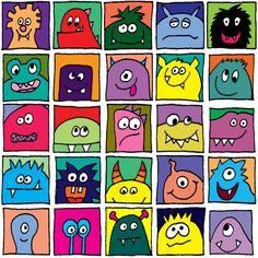 Monster im Quadrat – bunt - Art ideas Kindergarten Art Projects, Classroom Art Projects, Art Classroom, Arte Elemental, Art For Kids, Crafts For Kids, Classroom Pictures, Realistic Pencil Drawings, Directed Drawing